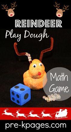 Reindeer Play Dough Math Game for preschool and kindergarten
