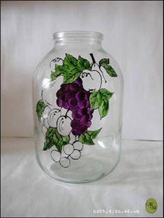 Πώς να περάσετε σχέδιο πάνω σε γυάλινο βάζο! Crafts With Glass Jars, Wine Bottle Crafts, Jar Crafts, Painted Glass Bottles, Painted Mason Jars, Bottle Painting, Bottle Art, Spoon Art, Stained Glass Paint