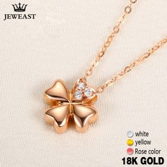df2703bd9677 18k Gold Diamond Necklace Pendant Female Women Girl Miss Gift Chain Charm  Clover Trendy Party Rose