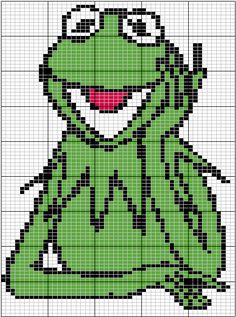 grenouille Kermit hama perler or cross stitch pattern Cross Stitching, Cross Stitch Embroidery, Cross Stitch Patterns, Loom Beading, Beading Patterns, Crochet Pixel, Stitch Character, Minnie Baby, 8bit Art