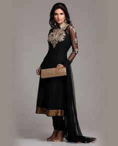 Black Net Anarkali With Hand Embroidery