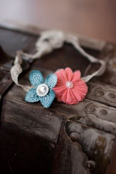 Baby Headband, Coral and Teal Baby Halo, Coral Shabby Flower Headband, Teal Baby Skinny Headband, Newborn Headband, Girls Headband Skinny Headbands, Vintage Headbands, Shabby Flowers, Newborn Headbands, Halo, Coral, Craft Ideas, Girls, Crafts