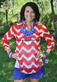 All About Me Red and White Sheer Top *Now in PLUS SIZE* $36.95-$39.95 www.gugonline.com