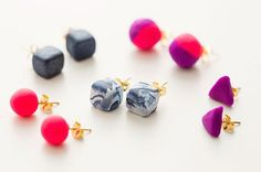 Use polymer clay to DIY bright stud earrings.