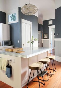 20 Paint Colors We Love in the Kitchen- Down Pipe (top) and Lamp Room Gray (bottom) by Farrow & Ball