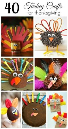 40 Turkey Crafts for Thanksgiving. This site has lots of fun ideas for kids crafts and play!