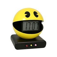 Paladone Pac-Man Alarm Clock with Authentic Game Sounds ($20) ❤ liked on Polyvore featuring home, home decor, clocks, battery clock, battery operated clocks, battery powered clock, battery alarm clock and battery operated alarm clock