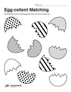 Egg-cellent Matching Worksheet - Paging Supermom Easter Worksheets, Printable Preschool Worksheets, Easter Printables, Worksheets For Kids, Free Printables, Easter Activities For Kids, Spring Activities, Preschool Crafts, Toddler Activities