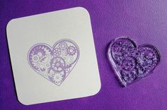 steampunk style heart with gears clear polymer by sugarskull7, $10.00