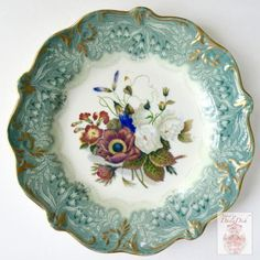 RARE Antique Teal Transferware Plate Country French Botanical Floral Bouquet Peonies Cornflower Phlox Hand Painted