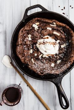 Introducing the chocolate (double chocolate) version of a long time family favorite, the Dutch Baby.