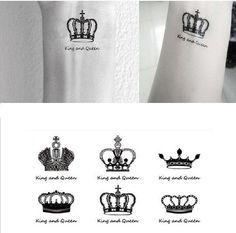 King & Queen Clowns Wrist Finger Tattoos