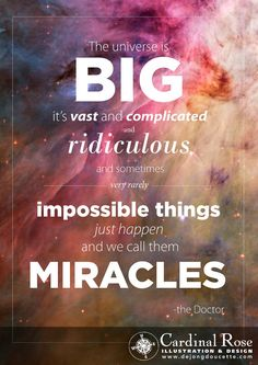 """""""The Universe is big. It's vast and complicated and ridiculous. And sometimes, very rarely, impossible things just happen. And we call them Miracles."""" -Doctor Who Quote"""