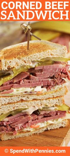 Corned Beef Sandwiches are a great way to use leftover corned beef. Made with coleslaw, swiss cheese, and dijon mustard it is a delicious and hearty recipe. Corned Beef Sandwich, Turkey Sandwiches, Wrap Sandwiches, Panini Sandwiches, Vegetarian Sandwiches, Vegetarian Food, Fun Sandwich Recipes, Gourmet Sandwiches, Going Vegetarian