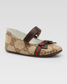 Baby Marilyn GG Canvas Mary Jane Ballerina by Gucci at Neiman Marcus.
