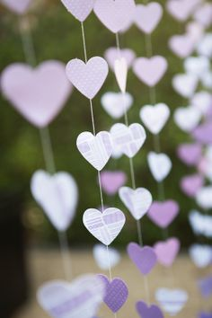 Purple heart garland.  DIY Wedding decor.  Ryon Lockhart Photography.  Studio 1342.