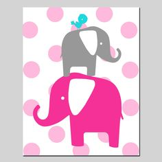 Modern+Polka+Dot+Elephant+Bird+Silhouette+Print++11x14++by+Tessyla,+$25.00