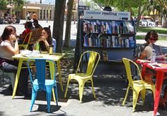 Outdoor reading room created by Fremantle City Library, in Kings Square, Fremantle.
