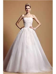 Amazing A-line Floor-Length Strapless Appliques Embellishing Dasha's Wedding Dress