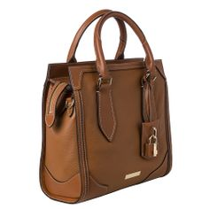 Burberry 'Honeywood' Small Tan Leather Structured Tote Bag | Overstock.com Shopping - Big Discounts on Burberry Designer Handbags