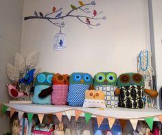 upcycled handmade owlie softies and cushions