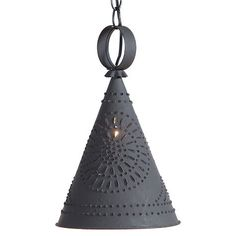 Pennycress Punched Tin Pendant Light in Textured Black - Country Tinware Irvins Country.have this light over my kitchen sink! Country Lamps, Country Chandelier, Chandelier Ceiling Lights, Ceiling Light Fixtures, Ceiling Hanging, Primitive Lighting, Rustic Pendant Lighting, Tin Walls, Primitive Kitchen