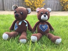 These teddies are approx 24 cm when seated and around 40 cm from top to toes. They are so cute and soft! Each of them have different style with patches pearls and ribbons. Crochet Teddy, Crochet Toys, Bank Holiday, Etsy Uk, Handmade Items, Handmade Gifts, Different Styles, Old School, Craft Supplies