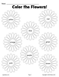 FREE Printable Spring Flowers Color Words Coloring Page! Color recognition worksheets like this are great for preschoolers and kindergartners to practice color words, color recognition, fine motor skills, and more! Get the free coloring worksheet here --> https://www.mpmschoolsupplies.com/ideas/7941/free-printable-flower-color-words-worksheet/