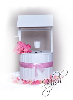"""Wishing Well. Was thinking this would be a cute alternative to the money dance at a wedding reception and with a theme of """"wishes do come true"""",  a """"Wish-U-Well"""""""