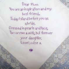 Hand Embroidered Nottingham Lace Mother of the Bride Small Poem Hankie £20.00