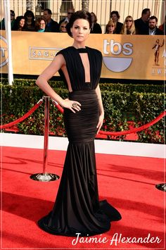 Sherri, in a Jaimie Alexander beautiful  black evening gown...