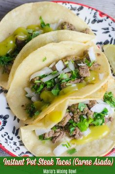 Cooking Delicious - Instant Pot Steak Tacos (Carne Asada) Recipe, A quick and easy recipe for your weeknight meals. It has a great flavor that's perfect for street tacos! Carne Asada, Instant Pot Pressure Cooker, Pressure Cooker Recipes, Pressure Cooking, Cooking Recipes, Healthy Recipes, Crockpot Recipes, Easy Recipes, Steak Recipes