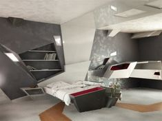 Another perfect example of a contemporary interior, with a unique styled futuristic bedroom design from Deco.