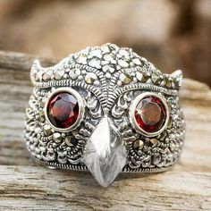 Owl Theme Handcrafted Marcasite and Garnet Cocktail Ring - Owl Sparkles | NOVICA