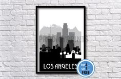 ** Watermark not on print **  LA silhouette print   > Available in multiple sizes as shown in the SELECT A SIZE drop down box  > I offer prints
