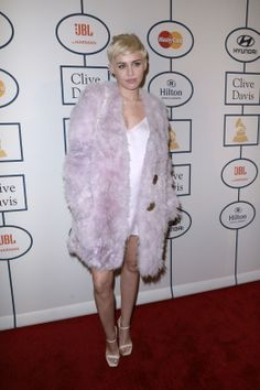 Miley Cyrus wearing Calvin Klein Collection Pre-Fall 2014 – Clive Davis' Pre-Grammy Party #2014