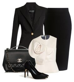 Chic Suit by danewhite on Polyvore featuring polyvore fashion style Delpozo Balmain Theory Ted Baker Chanel clothing