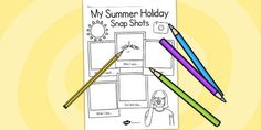 Summer Holiday Snapshots Writing Frame - transition, writing aid - twinkl