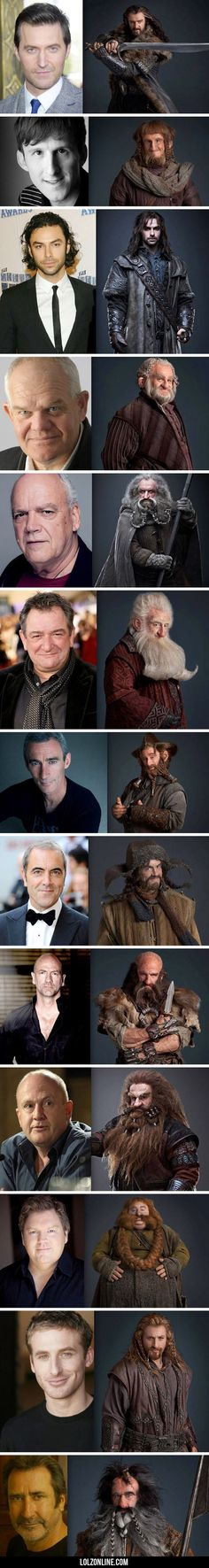 The Hobbit dwarves, pre and post make-up…