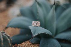 rose gold and Forevermark diamond three stone framed ring