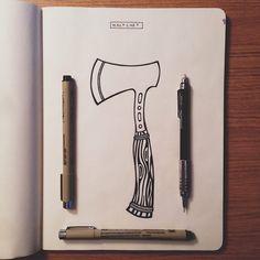 {Illustration - Hatchet}  Follow for more artwork. Thank you! #artwork #graphic #design #sketch #illustration #drawing #student #designer #belmont #university #nashville #tennesse #branding #adobe #art #vscocam #photography #vscogood #photoshop #illustrator #visual #logo #minimalist #graphicdesign #pastel #duo #tone #color #vector #lettering by vadnaisart
