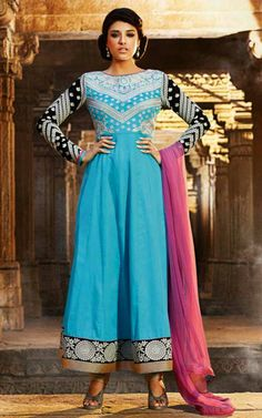 CYAN BLUE COTTON ANARKALI SALWAR KAMEEZ - DIF 29568