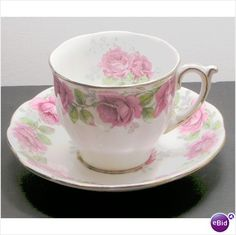"""This lovely tea cup and saucer is from Shore & Coggins, Longton, Stoke-on-Trent, England, produced under the trade name Bell.  This is from the Lady   Bell China """"Lady Alexander Rose"""" Cup and Saucer Retired  Alexander Rose collection, discontinued.    The cup stands about 2.75"""" tall and measures about 3"""" across the rim.  The saucer measures  5.5"""" across the rim. $11.99 Teamsellit"""