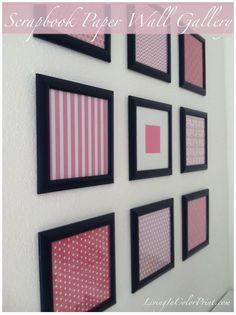 DIY: Framed Scrapbook Paper Wall Gallery - http://centophobe.com/diy-framed-scrapbook-paper-wall-gallery/ -