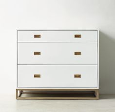 RH TEEN's Avalon Dresser:The sleek lines of our collection exemplify the sophisticated restraint of modernism, while its polished cast-brass fittings – including recessed pulls and a metal base – take the composition in a stunning new direction.