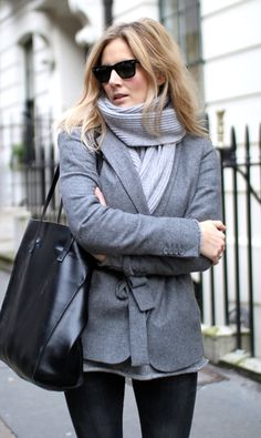 Bag and jeans by Zara, scarf by Rosie Sugden, blazer by Massimo Dutti, sunglasses by Rayban | Fashion Me Now | Wrapped in Grey - 5