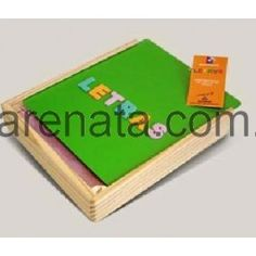 Letras y números imantados en caja de madera ranarenata.com.ar