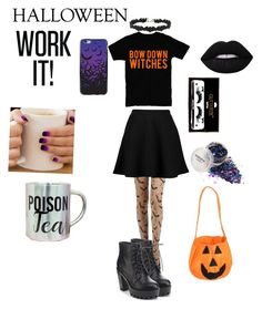 """""""Basic witch 🎃"""" by petalsonaflower ❤ liked on Polyvore featuring Miss Selfridge, Boohoo, Refresh, Lime Crime and GLB Graphics"""