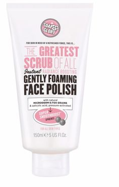 THE GREATEST SCRUB OF ALL™ GENTLE FOAMING FACE POLISH This instant radiance boosting, gently foaming face polish features natural MICRODERM D.TOX GRAINS and salicylic acid, pressure-activated SUPER SMOOTHBOOST™ SPHERES that 'pop' open when you press 'em. For skin in need of a refresher force, this is THE GREATEST SCRUB OF ALL™! - $12.00 - Soap & Glory