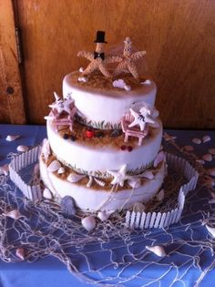 Request for another shell cake for beach front wedding in Connecticut.  Topper made by the bride!